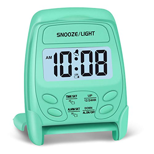 Peakeep Small Folding Battery Operated Alarm Clock, Travel Digital Easy Operation Alarm Clock(Mint)