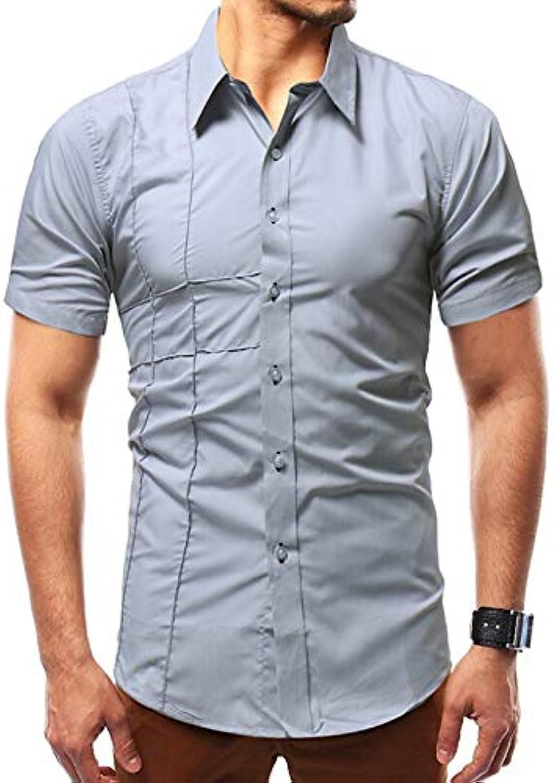 9dbd21b1e7a3eb Men's Asian Size Size Size Cotton Slim Shirt - Solid colord Shirt Collar  915b67