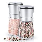 KRONENKRAFT® Salz und Pfeffer Mühle Set Pfeffermühle Salzmühle aus Glas mit verstellbarem Keramikmahlwerk Edelstahl Gewürzmühle für Gewürze, Pfeffer, Salz und Chilli