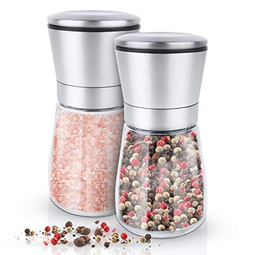KRONENKRAFT® Salz und Pfeffer mühle Set Salz Pfeffermühle Salzmühle aus Glas-Körper mit verstellbarem Keramikmahlwerk Edelstahl Gewürzmühle für Gewürze, Pfeffer, Salz und Chilli