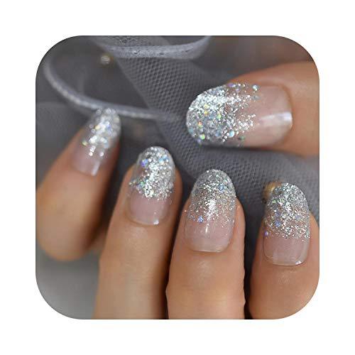 Pegatinas de uñas de diseñador LightCoral Uñas postizas artificiales Elegante gel UV Uñas acrílicas Ovaladas de color medio Consejos con 24 piezas-L5432-