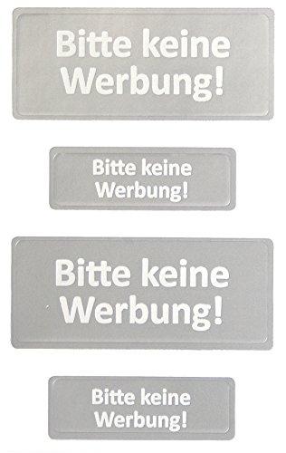 AVERY Zweckform 59121 Keine Werbung Etiketten Schilder silber (wetterfeste Folie) 4 Aufkleber