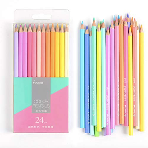 MARCO 24 Pastel Color Pencil Set, Neon Colored Pencils for Adults, Kids, Artists, Pastel Pencils for Drawing, Sketching and Coloring Books
