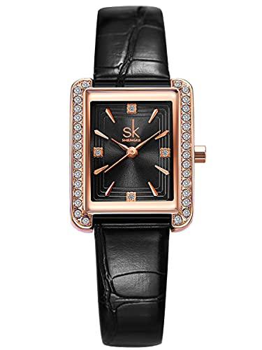 Alienwork Reloj Mujer Oro Rosa Pulsera de Cuero Negro Strass Purpurina Elegante