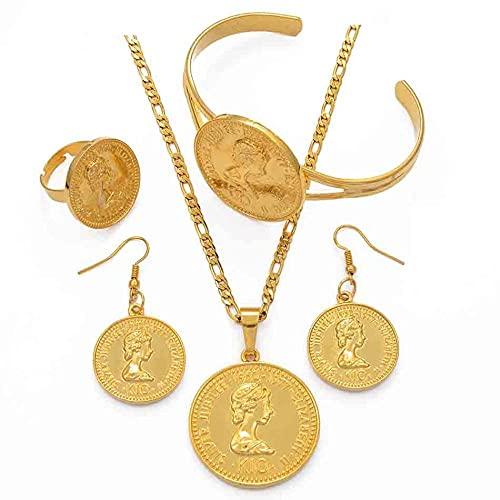 PNG Collares y pendientes colgantes de colores dorados Conjuntos de pulseras Anillos Joyería de Papua Nueva Guinea Regalos # 108806-45cm por 3mm Cadena