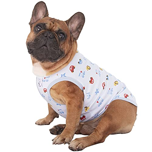iChoue Dog Clothes Vest Tee Shirt Fruit Print Cotton Sleeveless Pajama for French Bulldog Pug Boston Terrier Frenchie - L Pattern of Cartoon