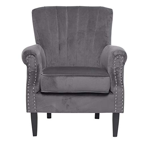 INMOZATA Wing Back Fireside Chair Velvet Armchair Load Maximum Weight 150kg, Occasional Single Sofa Lounge Chair for Living Room Bedroom Reception (Grey)