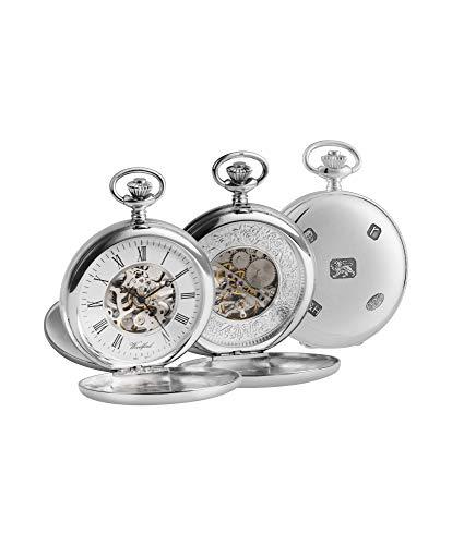 Woodford 1104 Taschenuhr, Skelett-Design, Sterling-Silber 925, Schweizer Taschenuhr