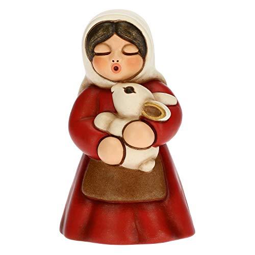 THUN - Statuina Presepe Donna con Coniglio - Decorazioni Natale Casa - Linea Presepe Classico, Variante Rossa - Ceramica - 5 x 5 x 8 h cm