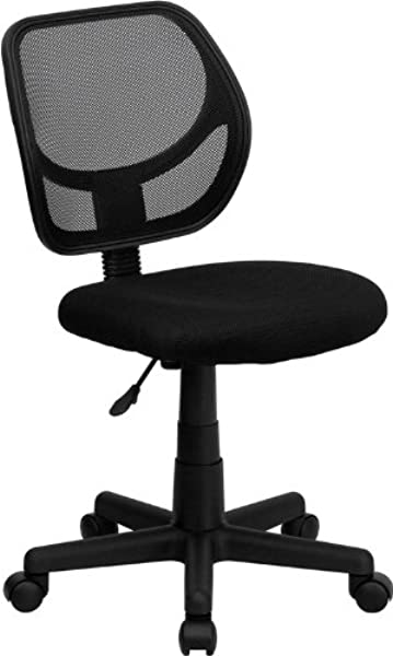 Flash Furniture Low Back Black Mesh Swivel Task Office Chair With Curved Square Back