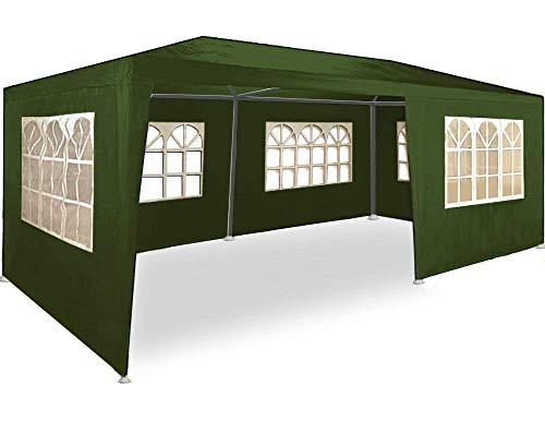 gazebo da giardino 6x3 MaxxGarden Gazebo da Giardino 3x6 m Protezione UV 50+ Idrorepellente 6 pareti Laterali 18 m² Tenda per Feste Padiglione da Giardino Tendone da Esterno Verde