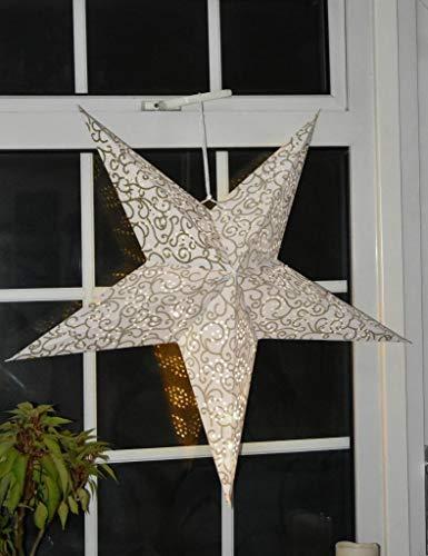 Large LED Decorative Festive Paper Star Hanging Christmas Lantern Xmas Lights (24' White Glitter Star)