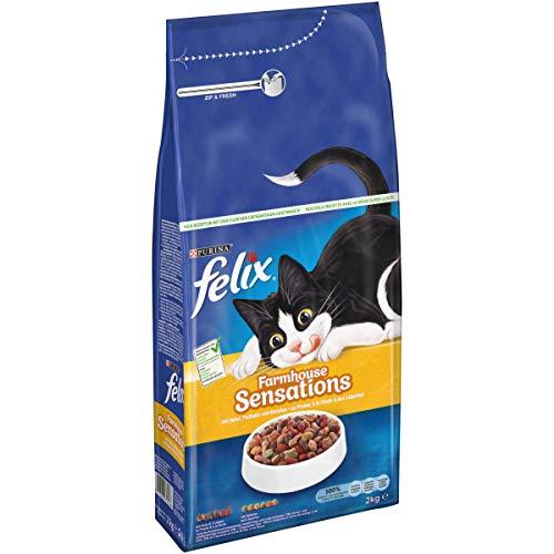 FELIX Farmhouse Sensations Katzenfutter trocken, mit Huhn und Truthahn, 6er Pack (6 x 2kg)
