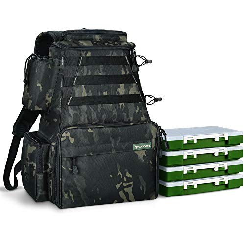 Rodeel Fishing Tackle Backpack 2 Fishing Rod Holders with 4...