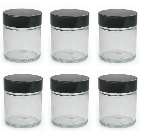 Vasetti piccoli in vetro trasparente da 30ml con coperchio nero per unguenti (confezione da 6)