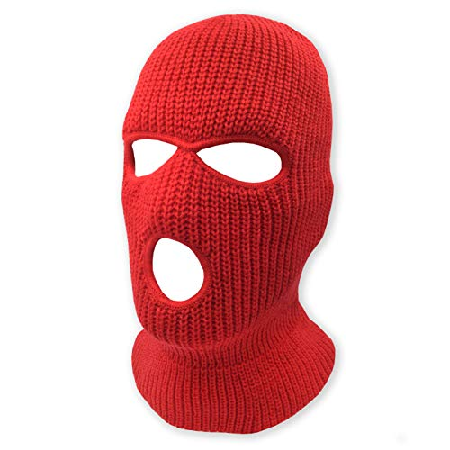 3 Hole Beanie Face Mask Ski - Warm Double Thermal Knitted - Men and Women (Red)