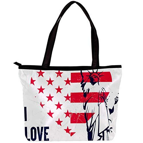 Vockgeng Bolsos para mujer Bandera estadounidense Bolso de hombro con cremallera Monedero con asa superior Bolsos de hombre Grandes 30x10.5x39cm