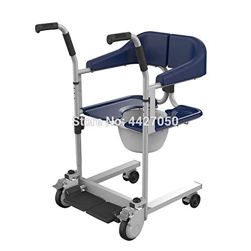 JINKEBIN Silla de ruedas eléctrica ligera plegable para inodoro con colchoneta para silla de ruedas, silla de ducha, silla de ruedas, disable (color: azul)