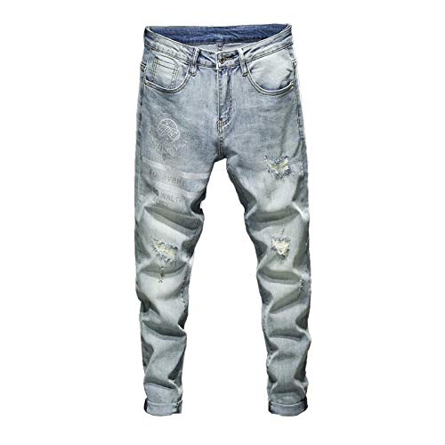ileibmaoz Jeans Pantalones Vaqueros Rasgados para Hombre, Elásticos, Celestes, De Primavera, Ajustados, A Rayas, con Lentejuelas, Desgastados, Parches, Motociclistas, Jeans Streetwear-Light_Blue_34