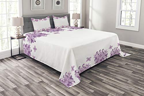 ABAKUHAUS Blumen Tagesdecke Set, Romantischer lila Garten, Set mit Kissenbezügen Sommerdecke, für Doppelbetten 264 x 220 cm, Weiß Lila