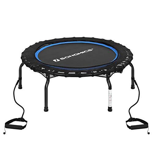 SONGMICS Mini trampoline, opvouwbaar ontwerp Fitness Rebounder Workouts voor volwassenen, Aerobic Oefening Indoor Trampolines met Weerstandsbanden, Maximaal gewicht 120 kg, 38-Inch STR38BUV1