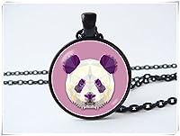 Panda necklace Purple pendant Gift for girls Panda jewelry