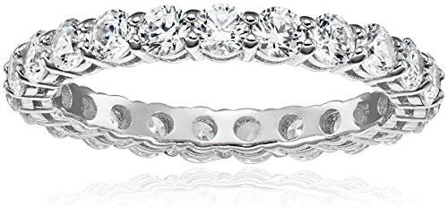 Platinum-Plated Sterling Silver All-Around Band Ring set with Round Swarovski Zirconia (2 cttw), Size 9