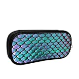 Mermaid Metallic Scales Turquoise and Purple Pencil Case Big Capacity Pencil Bag Makeup Pen Pouch Durable Stationery with Double Zipper Pen Holder for Office