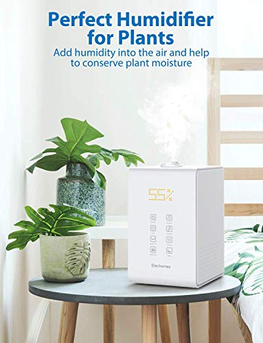 Elechomes SH8820 Ultrasonic Top Fill Humidifier 5.5L Vaporizer Warm and Cool Mist Humidifiers for Large Room Bedroom Babies with Remote, Humidity Monitor, 12-40 Hours, 550ml/h Max Humidity (White)