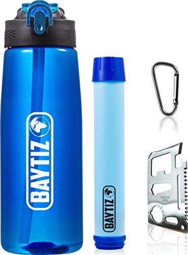 baytiz- Bottiglia di Acqua Filtro Senza BPA + Cannuccia Sopravvivenza Carbone Attivo - Borracia Depuratore - Borracce Paglia Filtri Kit Life Zucca Via