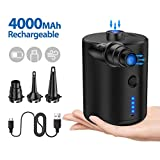Tomight Electric Air Pump, Rechargeable Portable Air Mattress Pump for Inflatables Quick-Fill Inflator Deflator with 3 Nozzles,4000mAH for Camping Inflatable Cushions, Air Bed Sofa,Boat, Pool Toys