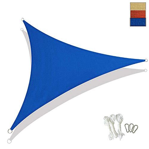XYNH Voile d'ombrage triangulaire en pergola pour pare-soleil résistant et stable, bleu, 3 x 3 x 3-m (10 x 10 x 10-ft)