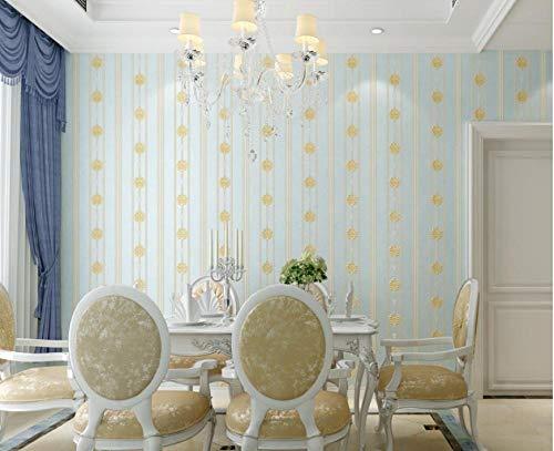 Papel tapiz Papel pintado no tejido Damasco en relieve de relieve Azul claro-B Papel tapiz papel tapiz mural para dormitorio, sala de estar, oficina, Telón de fondo de TV 9.5mx0.53m