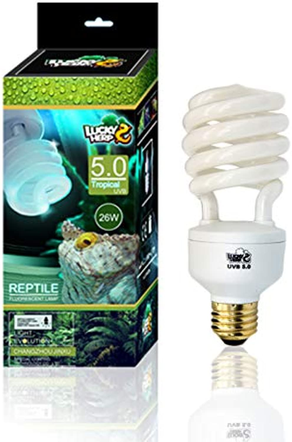 Reptile UVA UVB Light 5.0 Compact Fluorescent Tropical Terrarium Lamp 13 26 Wattage (26W)