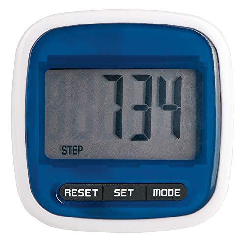 Moses Unisex– Erwachsene Fernweh Schrittzähler | Inkl. Distanzmessung und Kalorienverbrauchsanzeige | Mit Abschaltautomatik und Gürtelclip, blau, One Size