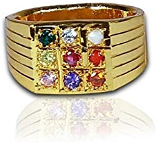 SataanReaper Presents Gold Plated Multicolour Metal Nava Ratna Finger Ring For Men #SR-803