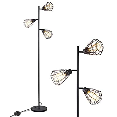 Industrial Floor Lamp, Anbomo 3 Head Torchiere Lamp Fixture for Living Room, Rustic Floor Lamp with 3 Vintage Edison Light Bulbs