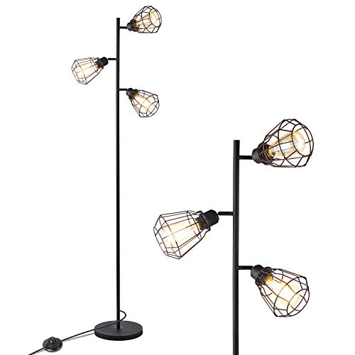 Industrial Floor Lamp, Anbomo 3 Head Torchiere Lamp Fixture for Living Room, Rustic Floor Lamp with 3 Vintage Edison Light Bulbs