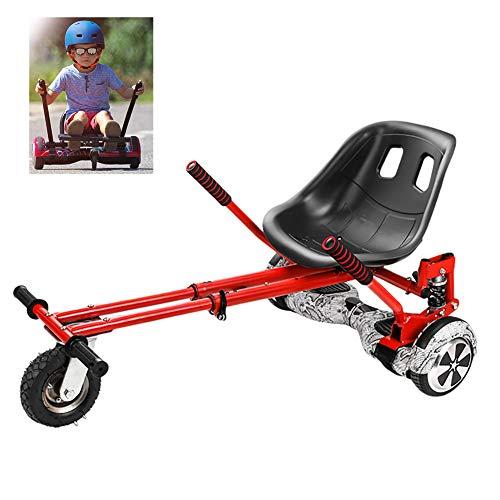 FLy Kart para Patinete Go Kart Asiento Ajustable para Scooter De Auto Equilibrio De 2 Ruedas, para 6,5 8 10 Pulgadas Hoverboard Accesorios Smart Electric Scooter,Rojo