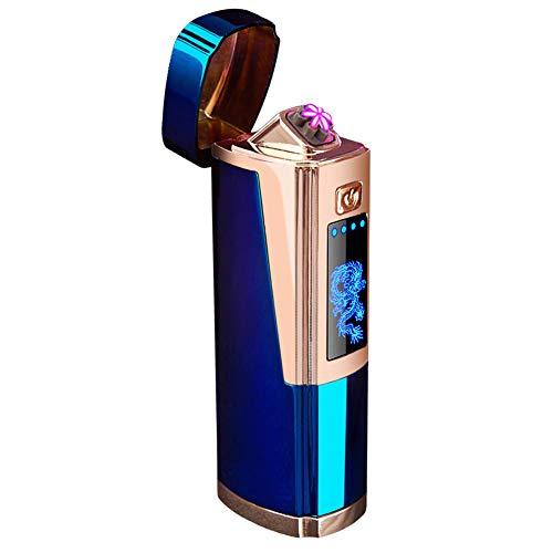 Qimaoo - Mechero eléctrico con conexión USB, Recargable, Resistente al Viento, sin Llama, con indicador de batería, Caja de Regalo