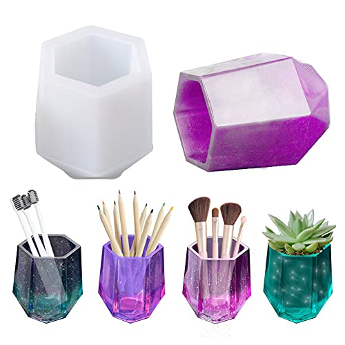 DIY Cup Resin Silicone Mold,Craft Makeup Brush Holder Organizer Epoxy Mold Cosmetics Brushes Pen Storage Mold Silicone Mould Bottle Casting Mold for Epoxy Casting Home Decor