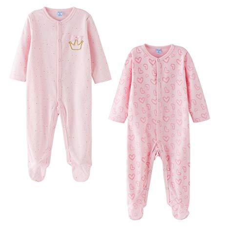 Amomí, Pijama algodón Bebé Niña Pelele Bebé Niña Manga Larga Pack de 2 Pcs Algodón 100%, 0-24 Meses (24 Meses, 87-88)