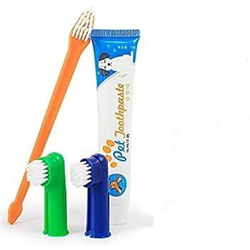 Xrten Plaque et Tartare Kit de Soins Dentaires pour Animaux de Compagnie, Dentifrice pour Chien, Brosse à Dents, Brosses à Doigts