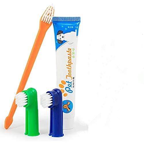 Xrten Set Higiene Dental para Perros, Cepillo de Dientes y Pasta de Dientes para Perros
