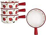 DZCGTP Tazones de Sopa de Cebolla Francesa, tazón de Porcelana para Servir de 12 oz con un Solo asa, Juego de 4, para Sopa de Chile, Tortilla, Avena, Cereal, Pastel de Pollo