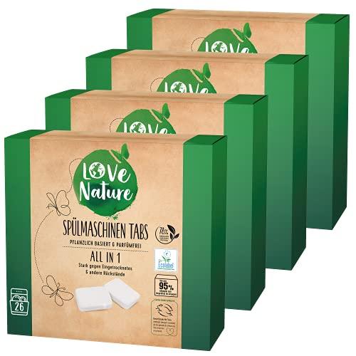 Love Nature Spülmaschinen Tabs All in 1, 104 Tabs, nachhaltige Geschirrspültabs gegen Eingetrocknetes, wasserlösliche Hülle, parfümfrei, ohne tierische Inhaltsstoffe