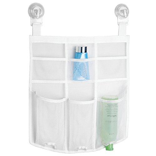 mDesign Badezimmer Aufbewahrung – Duschkorb zum Hängen - starke Saugnäpfe für sicheren Halt - praktische Duschablage aus Netzstoff für Shampoo, Conditioner, Seife – weiß