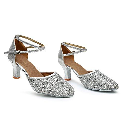 VASHCAMER – Damen Tanzschuhe Hoher Absatz Standard/Latein/Ballsaal 7CM Silber - 6