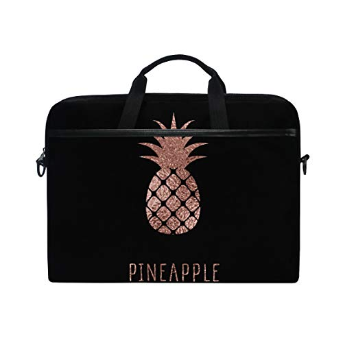 JOYPRINT Laptop Sleeve Case, Rose Gold Pineapple Pattern 14-14.5 inch Briefcase Messenger Notebook Computer Bag with Shoulder Strap Handle for Men Women Boy Girls