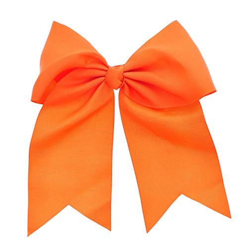 Jumbo Bow Clip with Tails-Orange